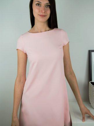 Trapezowa sukienk w kolorze ciepłego różu