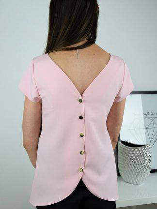 Wizytowa bluzka jasny róż ze złotymi guziczkami na plecach