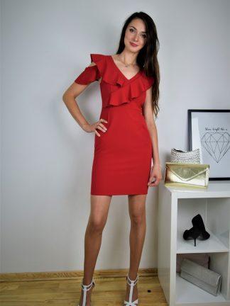 Sukienka czerwona Falbana Salsa