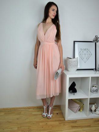 Szykowna Suknia wieczorowa Hollywood blady róż